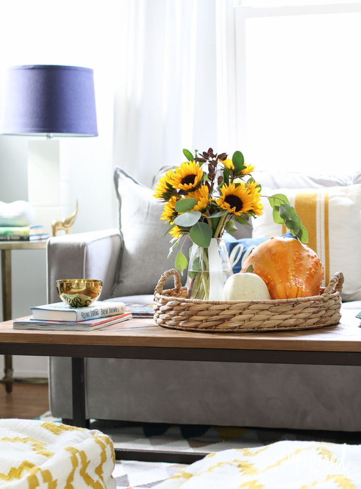 Fall home tour dining room table centerpieces and