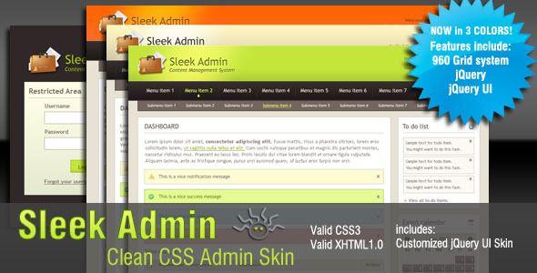 Sleek Admin Clean CSS Admin Skin - Admin Templates Site Templates - $12