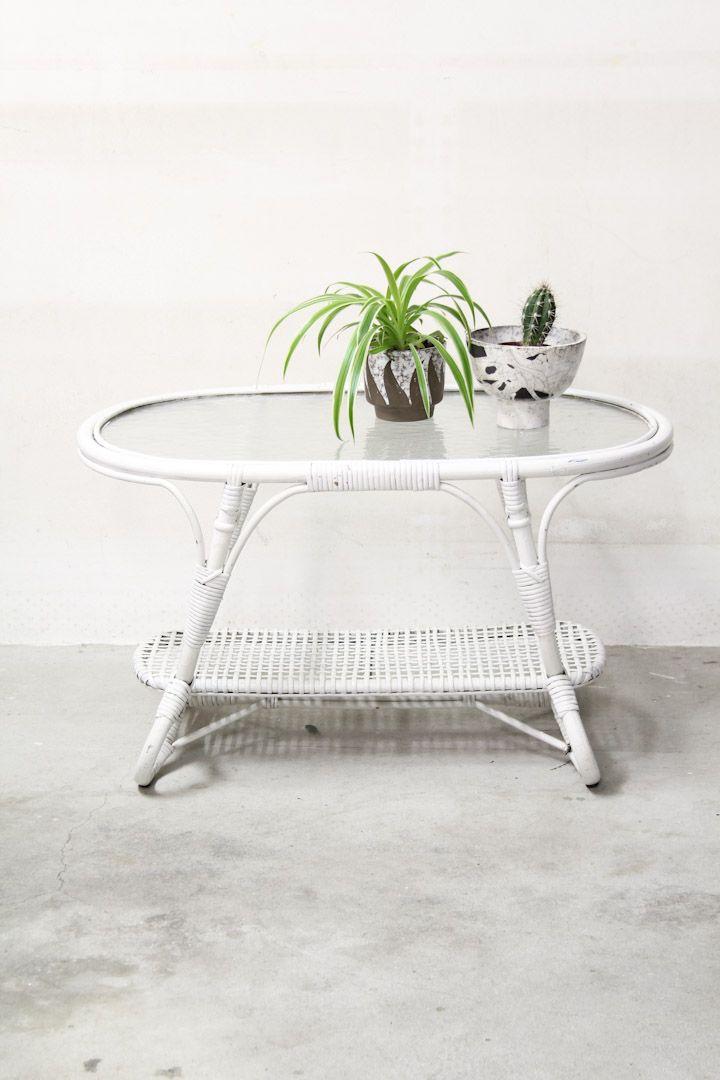 Ovale vintage rotan Rohé salontafel met glasplaat