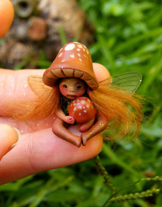 Tiny Mushroom Woodland Thimble Fairy Faery by Celia Anne Harris OOAK Art Doll Pure Sculpt