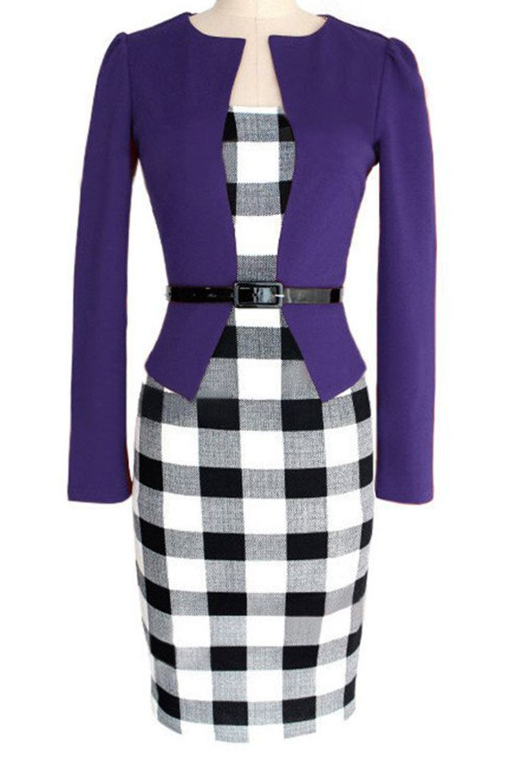Women's Vintage One-Piece Bodycon Midi Dress featuring fashionable two-pieces design, combining purple jacket and plaid midi dress together. https://atomicjaneclothing.com/products/atomic-vintage-office-lady-conservative-plaid-dress-with-belt