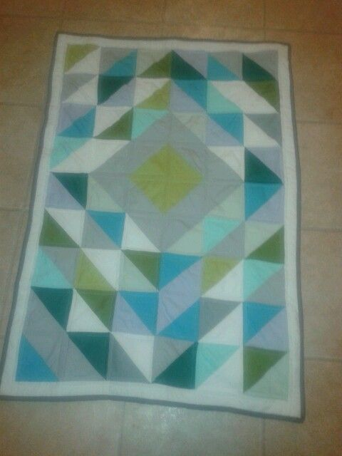 half square triangle baby boy quilt