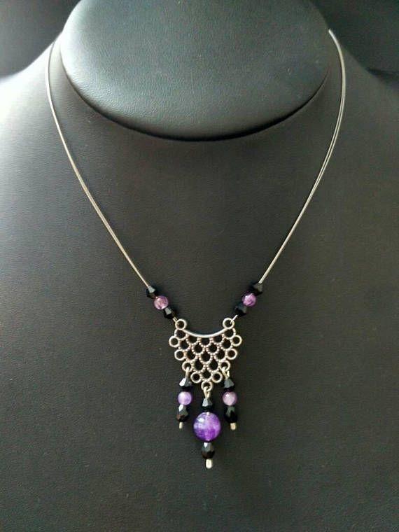 Ras De Coup Collier Nylon Fil Transparent Perle