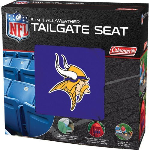 NFL Vikings 3 in 1 Tailgate Seat  http://allstarsportsfan.com/product/nfl-vikings-3-in-1-tailgate-seat/  Features team color material and logos Highly Versatile 3 in 1 tailgate seat. Stadium blanket, Poncho and Seat Cushion all in 1.