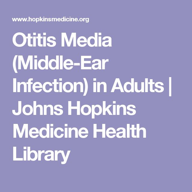 Otitis Media (Middle-Ear Infection) in Adults | Johns Hopkins Medicine Health Library