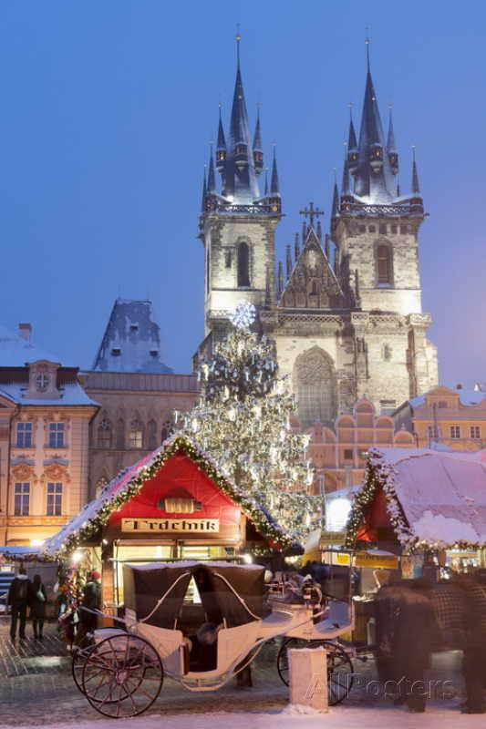 Snow-Covered Christmas Market and Tyn Church - Old Town Square, Prague, Czech Republic (by Richard Nebesky on AllPosters.com)