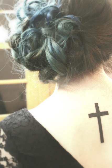 Cross Tattoo  I can imagine with the word Faith above it. <3