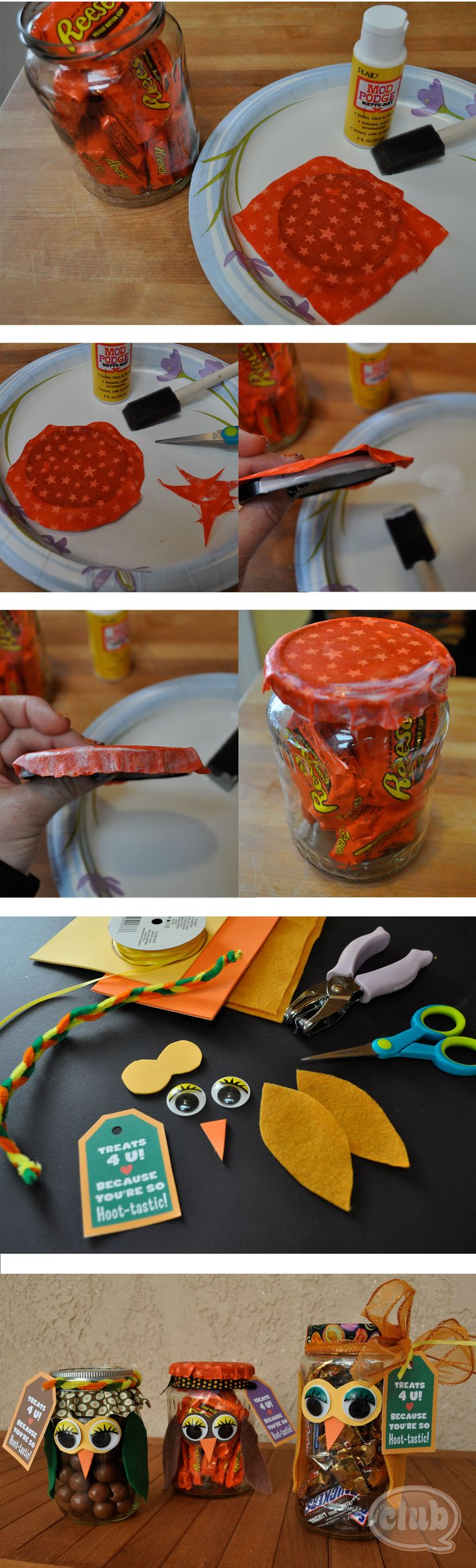 Upcycle glass jar, fill with candy, mod podge fabric on lid, add owl features.: Jars Diy, Recycled Jars, Mod Podge, Halloween Candy, Owl Candy, Glasses Jars, Podge Fabrics, Mason Jars, Candy Jars