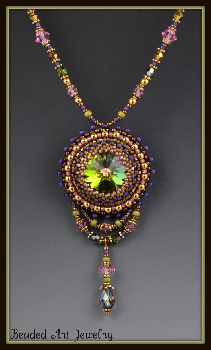 Beaded beadwork bead embroidered crystal necklace