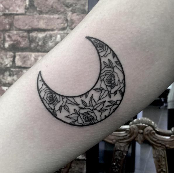Rose Moon Tattoo by Heidi Kaye