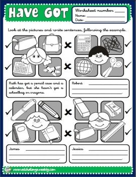 HAVE GOT - WORKSHEET 9 (B/W) http://eslchallenge.weebly.com/packs.html