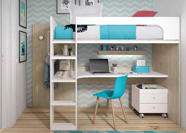 Dormitorio Infantil Con Litera Alta Escritorio Inferior Y Escalera