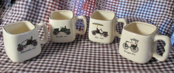 Vintage 1970's Square Collector Car Mugs by KlinknKlunk on Etsy, $22.00