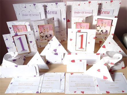 www.craftychez.co.uk - New 2017 Heart Stationery Sets  Available in Red & purple  Save the Date, Invitations with RSVP cards, Order of Service, Menu, Favour Boxes, Table Numbers, Place cards.    All Handmade