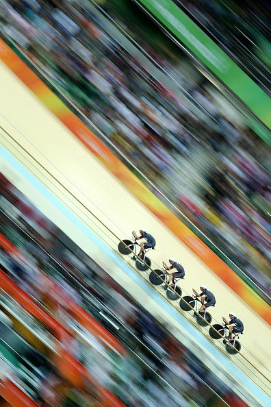 #RIO2016 Day 6 The Great Britain team of Edward Clancy Steven Burke Owain Doull and Bradley Wiggins winning the gold medal in world record time during the...