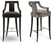 Eanda Bar Counter Chair Contemporary, Traditional, Transitional, MidCentury Modern, Metal, Wood, Upholstery Fabric, Barstools Counter Stool by Carlyle Collective