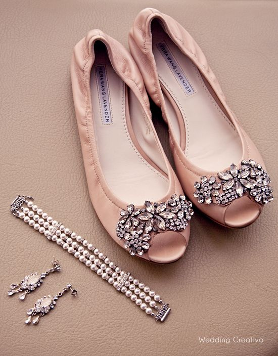 cream pink Vera Wang rhinestone wedding flats, #wedding #shoes  I have these in Navy and LOVE them!