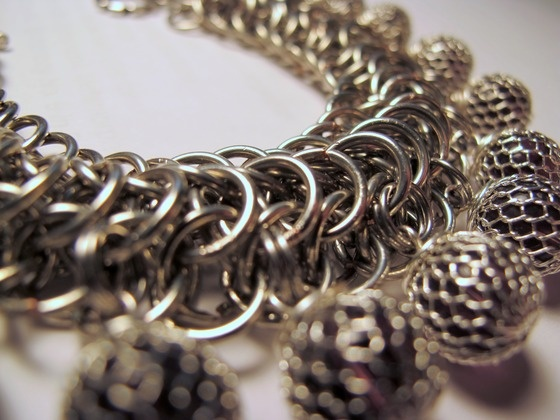 Dragonback Chainmaille Bracelet with Caged Glass Beads $28.00