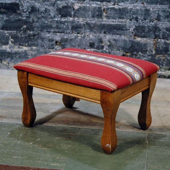 Vintage Reupholstered Footstool Upholstered Footstool