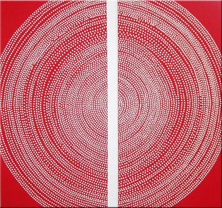 Marimekko 'Fokus' fabric wall art set in red and white 2x[60x120x4cm]