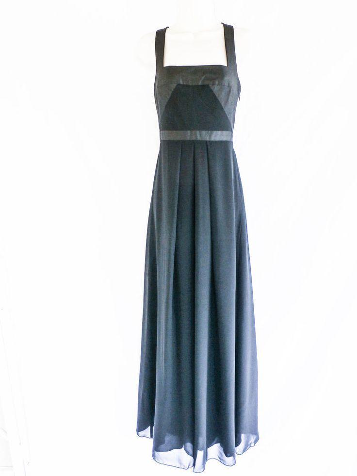 NWT NICOLE MILLER Sz 0 BLACK 100% SILK EMPIRE WAIST LONG FORMAL DRESS #NicoleMiller #EmpireWaist #Formal