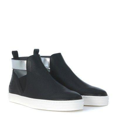 Laterale Sneaker Hogan Rebel R141 in pelle nera