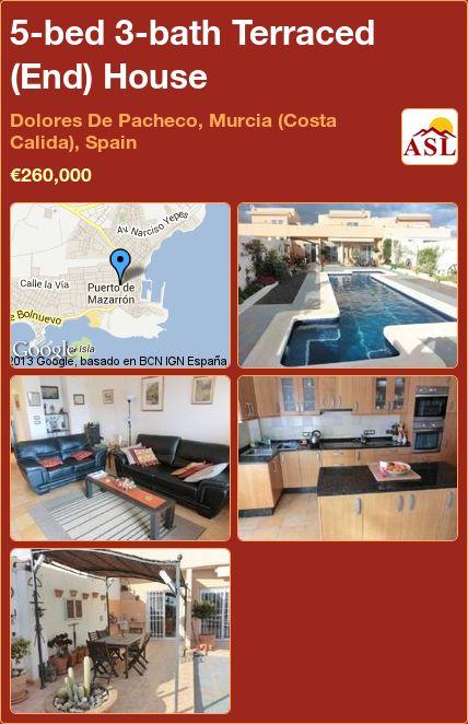 5-bed 3-bath Terraced (End) House in Dolores De Pacheco, Murcia (Costa Calida), Spain ►€260,000 #PropertyForSaleInSpain