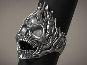Skull ring Fiery skull ring Ghost rider style