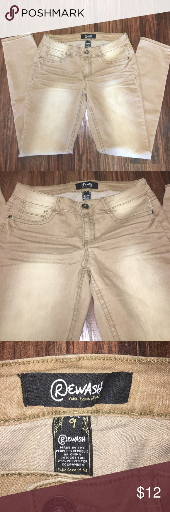 Tan skinny jeans Rewash tan skinny stretch jeans. Super comfortable and the perfect color to go with anything! In great used condition. Rewash Pants Skinny