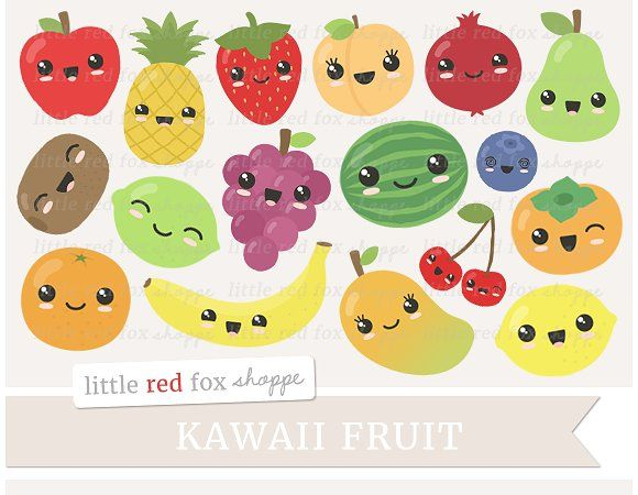 Kawaii Fruit Clipart - Illustrations