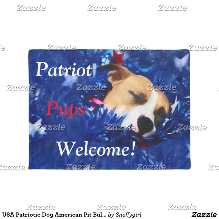 USA Patriotic Dog American Pit Bull Terrier Doormat #zazzle #shelleyneffphotography #dogs #pets #american #pitbull #straffordshire #terrier #patriotic #thankyouforyourservice #usa #independence #starsandstripes #patriot #welcome #doormat #sale