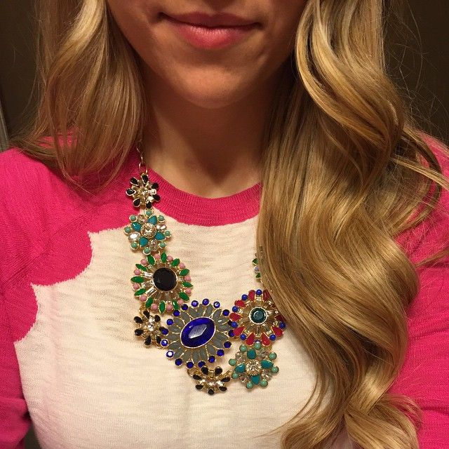 J. Crew scalloped baseball t-shirt sweater and a J. Crew statement necklace