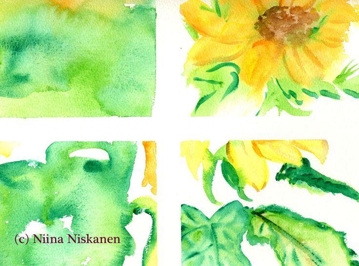 Sunflowers Original Watercolor Painting Flower Art Yellow Flowers Original Artwork Floral Art Watercolor by Niina Niskanen