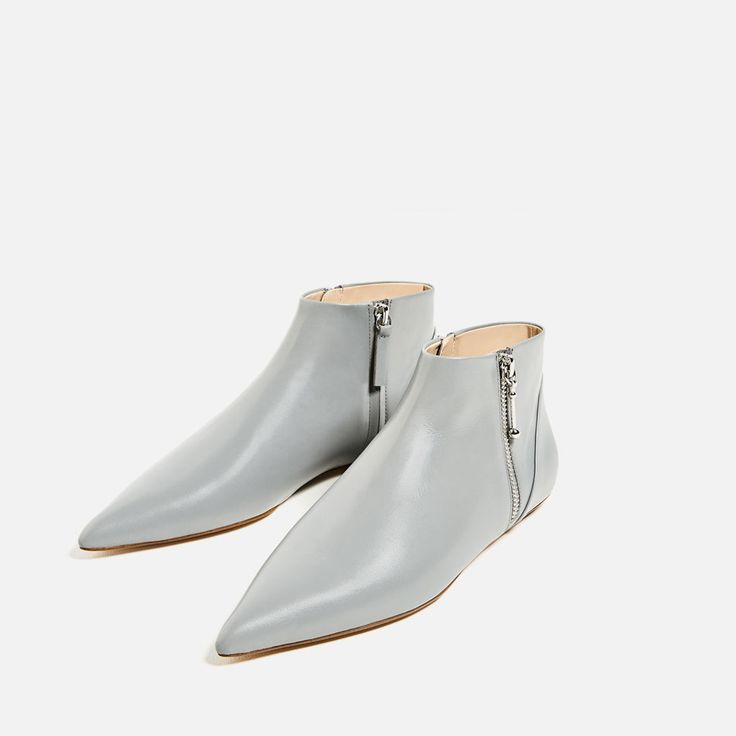 FLAT POINTED LEATHER ANKLE BOOTS-NEW IN-WOMAN | ZARA United States