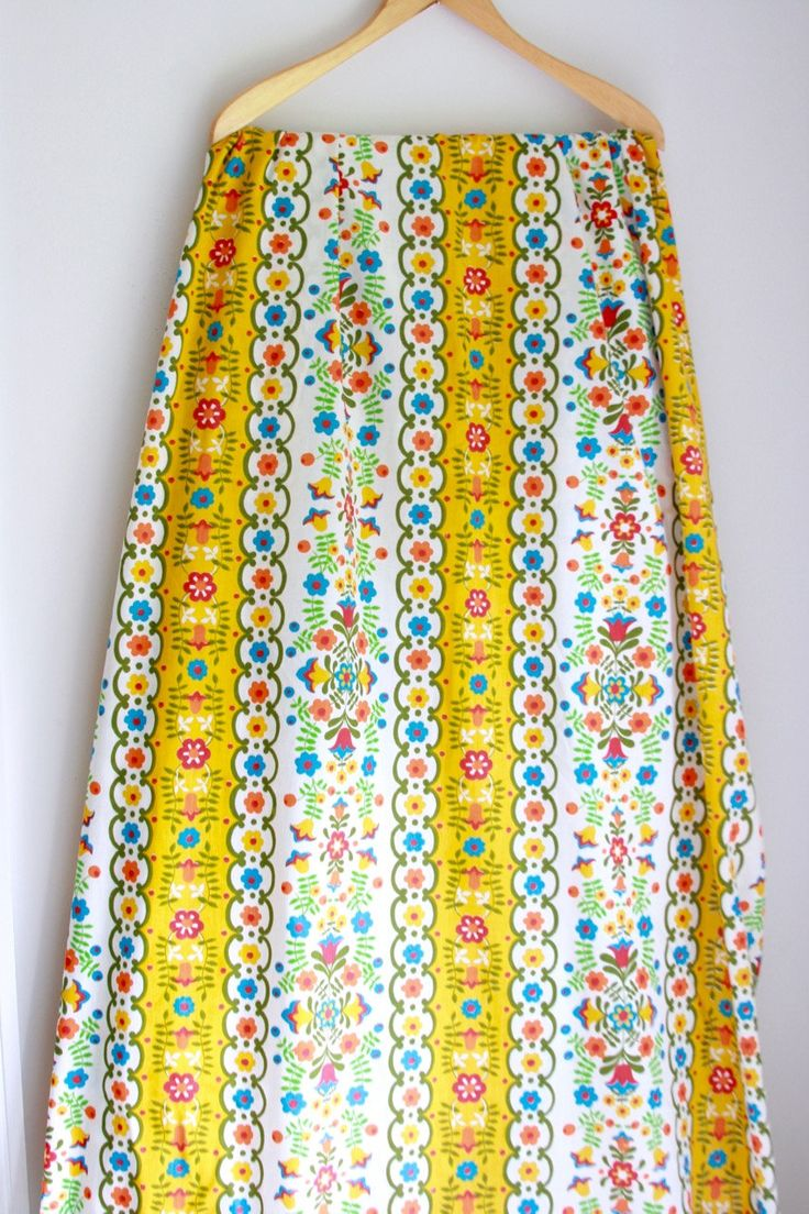 Vintage full flat sheet Scandinavian design yellow blue and red by fuzzymama on Etsy