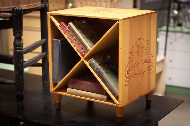 Wine Crate End Table, Wine rack - Wooden Nightstand Wine Box with Diagonal Shelves - Cresta Blanca Winery Bookcase - Wood Wine Rack. $64.95, via Etsy.