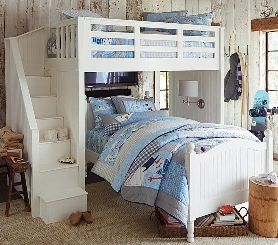 Catalina Stair Loft Bed Amp Twin Bed Set Pottery Barn Kids