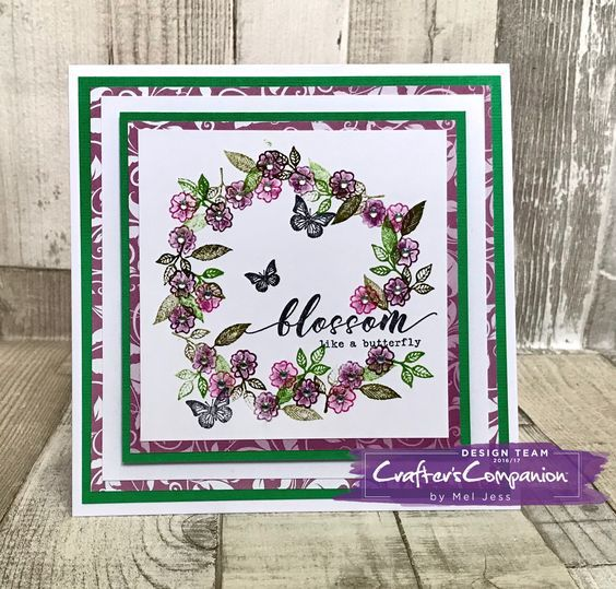 6x6 Frame Card made using Sara Signature Flutterby Collection – Block Stamps designed by Mel Jess #crafterscompanion