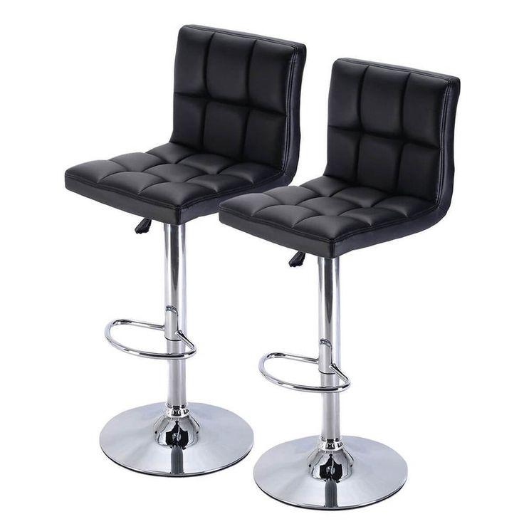 PU Leather Barstools Chair Set Of 2 Adjustable Swivel Pub Furniture NEW Black #1