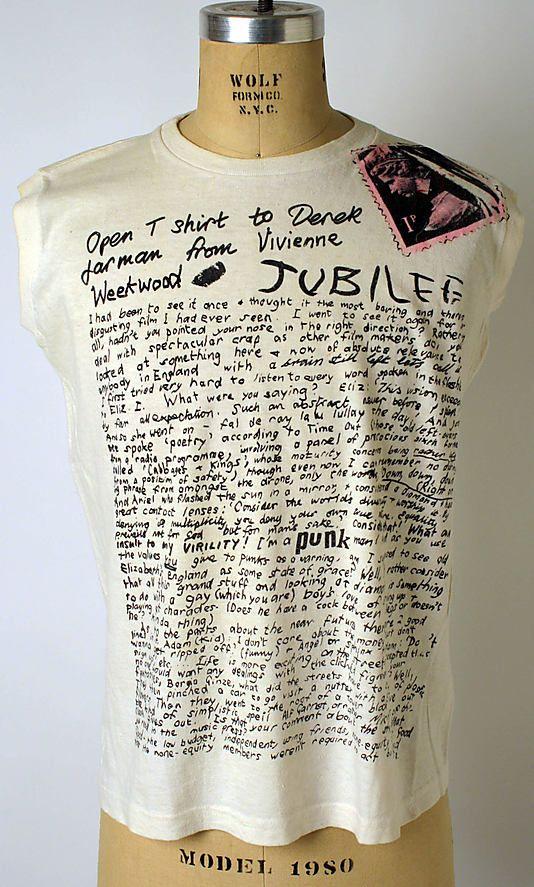 'Derek Jarman', Vivienne Westwood (designed by Malcolm McLaren, 1976) #seditionaries