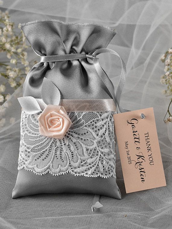 Grey and Peach Wedding Favor Bag Lace Wedding by 4LOVEPolkaDots, $2.20