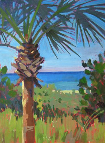 Sunny Palm- Gouache landscape/seascape painting of a large palm tree on a Florida beach. Art for sale. By Jill Stefani Wagner.