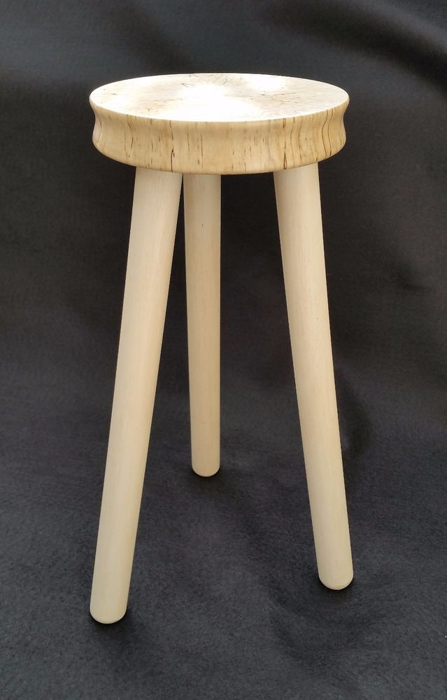Cute Little 3 legged Candle Plant Stand Spalted Birch  #Unbranded