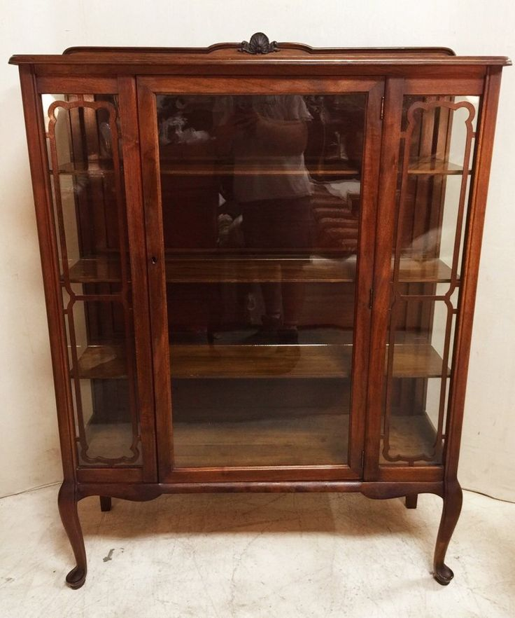 Gorgeous Antique Mahogany and Original Wavy Glass Cabinet $365