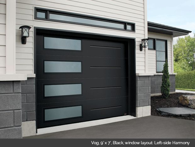 Garaga Garage Door - Vog, 9' x 7', Black, window layout: Left-side Harmony