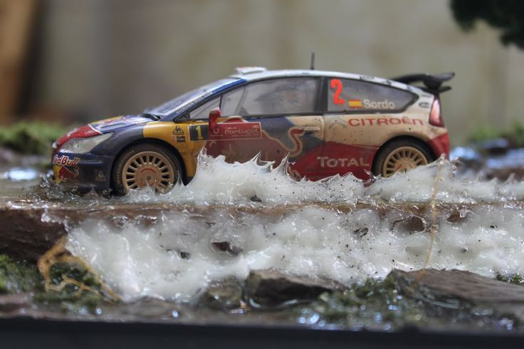 Rally slot diorama 1/32, sprød, cool wheels, vehicle, transport, racing, water splash, photo.