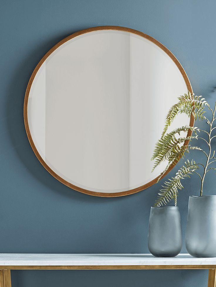 Antique Brass Round Mirror In 2019 Large Bathroom