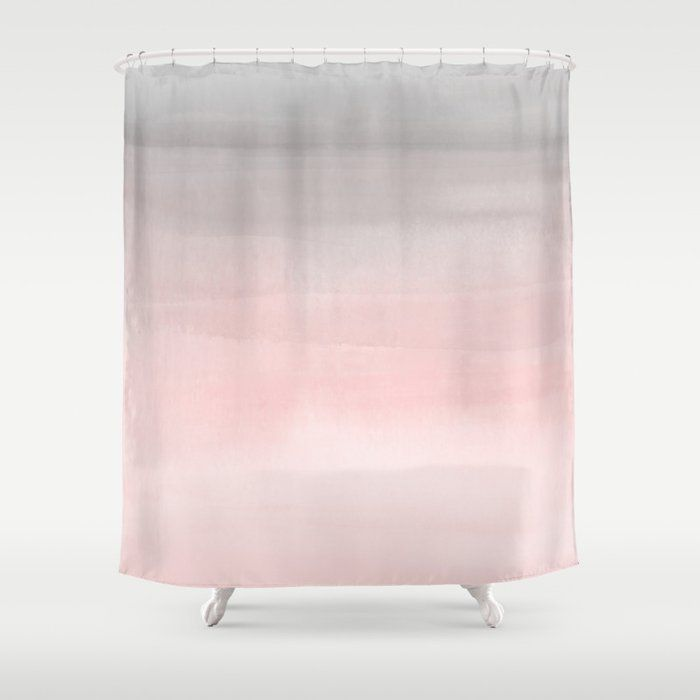 Buy Blushing Pink Grey Watercolor Shower Curtain By Christyne