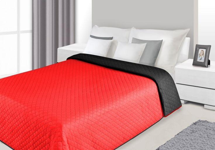 Prešívaná obojstranná prikrývka na posteľ v čierno červenej farbe