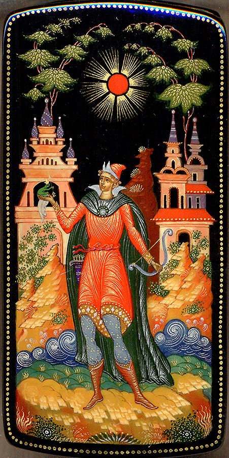 """Palekh.The composition shows a scene from the popular Russian fairy-tale """"Princess Frog"""""""